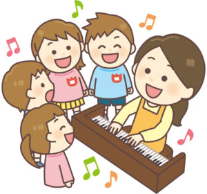 子供たちにピアノを聞かせる保育士
