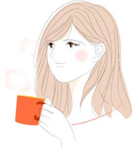 コーヒーを飲みリラックスする女性