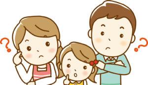 疑問を抱える家族の写真